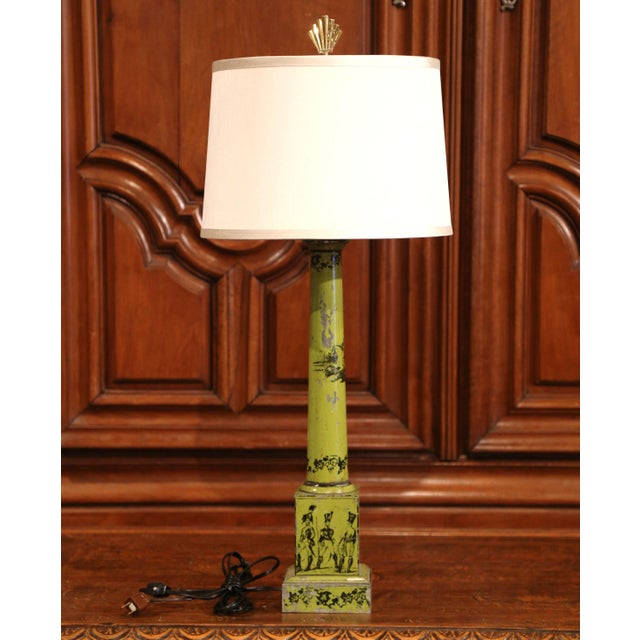 19th Century French Directoire Hand-Painted Green Tole Table Lamp For Sale - Image 9 of 10