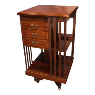 1900s Antique Edwardian Revolving Bookcase For Sale