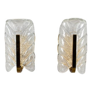 Barovier and Toso Glass and Brass Leaf Form Sconces - a Pair For Sale