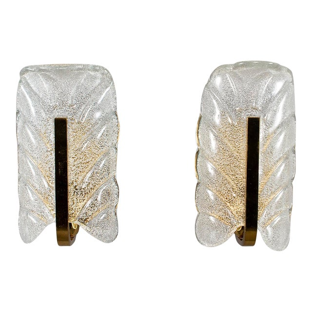 Fagerlund for Orrefors Glass and Brass Leaf Form Sconces - a Pair For Sale