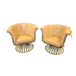 1950's Swivel Outdoor Tulip Chairs, Aluminum - Pair For Sale