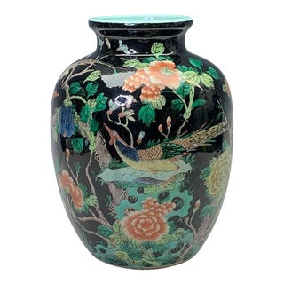 Antique Chinese Famille Noire Vase With Two Opposing Phoenix, Qing Dynasty For Sale