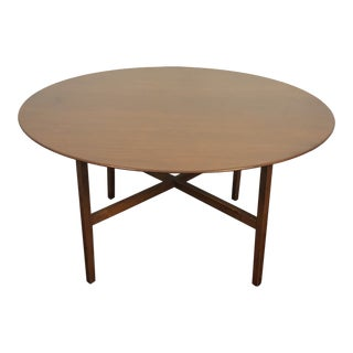 "54"" Florence Knoll Solid Walnut Round Table For Sale"