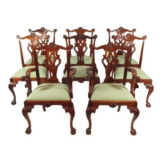 Vintage Chippendale-Style Dining Chairs - Set of 8 For Sale