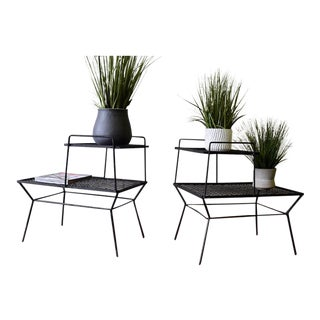 Mid Century Modern Iron Plant Stands / End Tables For Sale