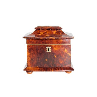 A Petite Early 19th Century Regency Tortoiseshell Tea Caddy With Pagoda Top For Sale