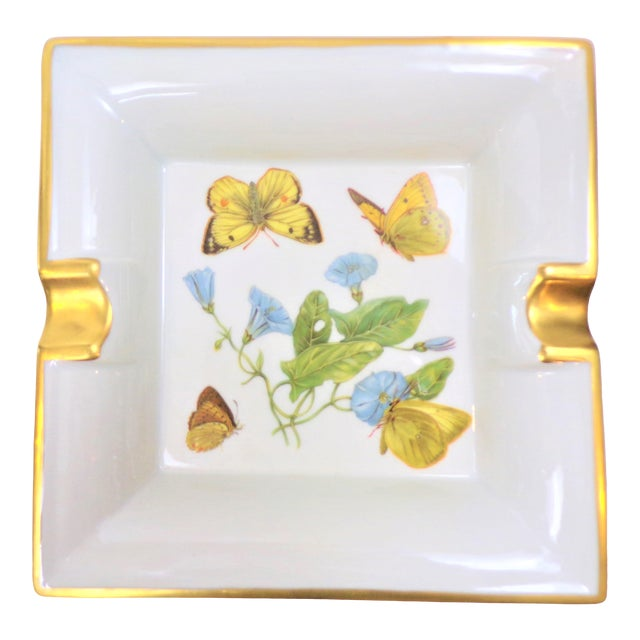 Vintage Hermes Style Butterfly Ashtray With Suede Bottom For Sale