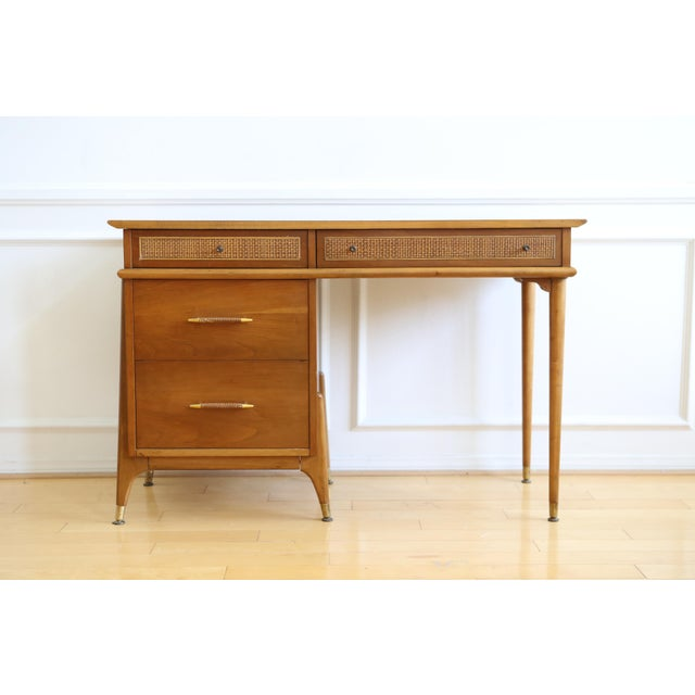 Mid Century Danish Modern Walnut Caned Writing Desk. Nice vintage mid century (1950s/1960s) Danish modern walnut Writing...