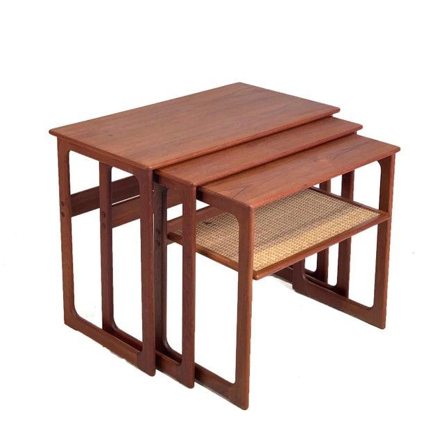 Wood Vintage Danish Teak Nesting Tables With Cane Shelf For Sale - Image 7 of 7