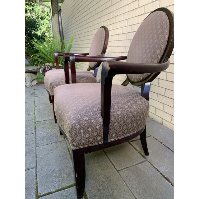 Beautiful set of two lounge chair by Barbara Barry for Baker furniture. Chairs retain original upholstery and labels....