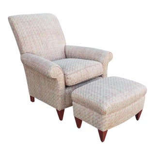 Swaim Furniture Upholstered Chair & Ottoman #F290 W/ S. Harris Cantonese Iris Fabric For Sale