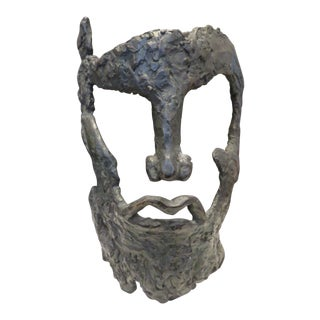 Armor Style Face Mask Bronze Signed Sculpture
