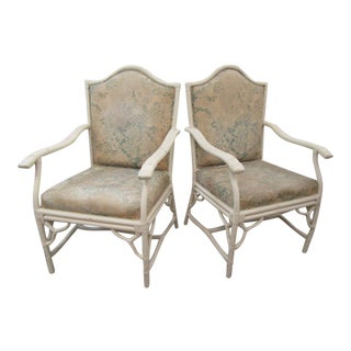 Fretwork Bamboo Arm Chairs - a Pair For Sale