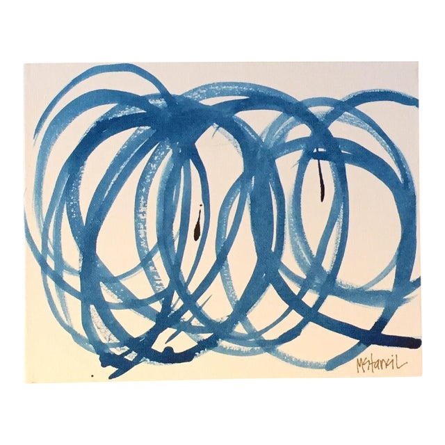 Blue Circles on Canvas Original Composition - Image 1 of 3
