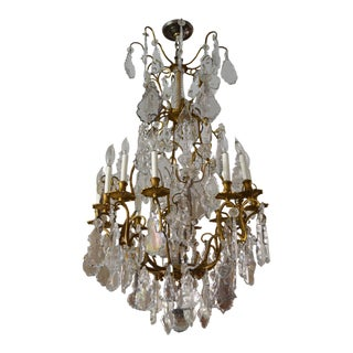 19th Century French Louis XV Gilt Bronze and Crystal Cage Chandelier For Sale
