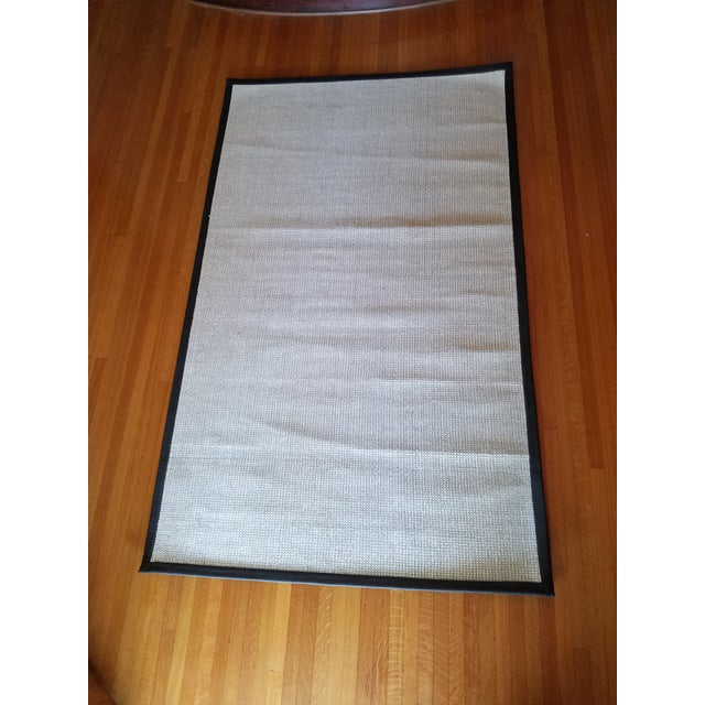 2010s Contemporary Wool & Black Leather Rug - 5' x 8' For Sale - Image 5 of 5