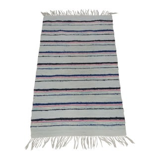 "Swedish Handwoven Striped Rag Rug - 2'5"" x 4'3"" For Sale"