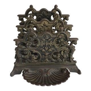 Vintage Rococo Bronze Letter Holder