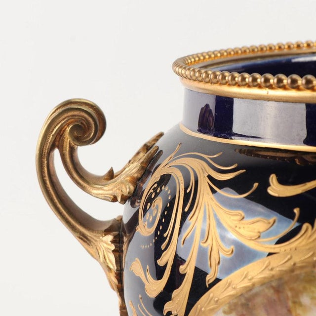 Bronze 1800s Sevres-Style Cobalt Blue Porcelain & Gilded Bronze Jardiniere For Sale - Image 8 of 12