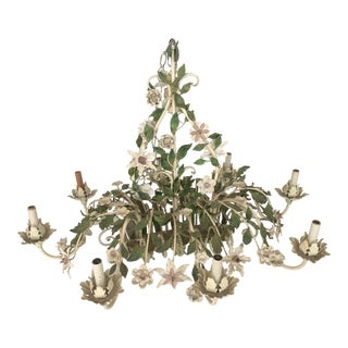 Large Mid Century Italian Tole Chandelier Flowers, Green White Pink For Sale