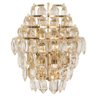1960s Multi-Tier Brass Sconce With Cut Crystal Elements For Sale