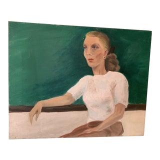 Vintage Woman Portrait Painting For Sale