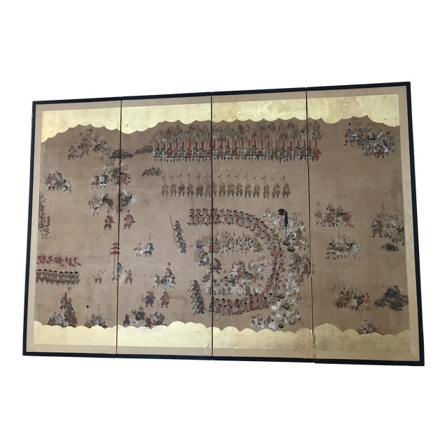 Early 19th Century Japanese 4 Panel Screen For Sale