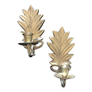 1970s American Classical Brass Pineapple Candle Sconces - a Pair