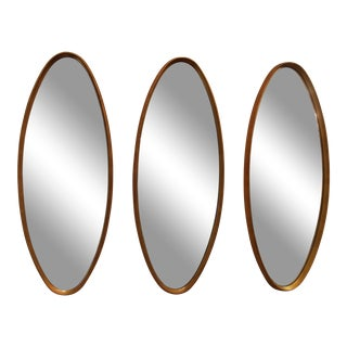 Mid-Century Modern Gold Leaf Oval Mirrors For Sale