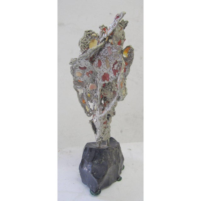 Mid-Century Modern Lead Abstract Sculpture with Obsidian Base and Agate Inserts For Sale - Image 3 of 7