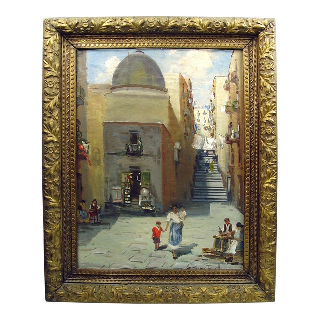 Italian Street Scene Painting, Circa 1900 For Sale