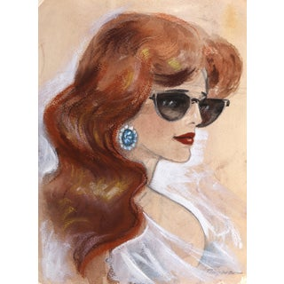 Erik Freyman, Sketch of a Lady, Watercolor With Pastel For Sale