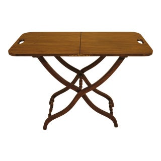 1970s Traditional Baker Walnut Fold Up Tray Table For Sale
