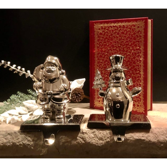 Traditional Vintage Stocking Hooks Christmas Silver Snowman and Santa - Set of 2 For Sale - Image 3 of 11