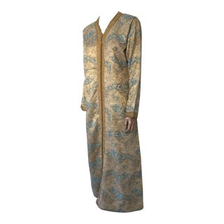 Moroccan Turquoise and Gold Brocade Kaftan Size Medium For Sale