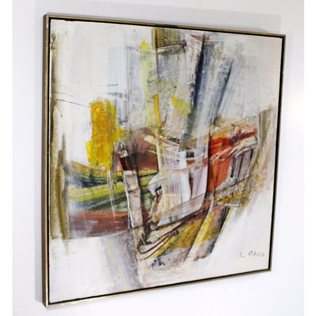Abstract Mid Century Modern Framed Mixed Media Acrylic Abstract Painting by Ljubo Biro For Sale - Image 3 of 11