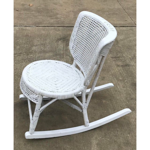 White Early 20th Century Antique White Wicker Rocking Chair For Sale - Image 8 of 8