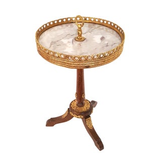 1960s Louis XVI Trouvailles Marble and Ormolu Drinks Side Table For Sale