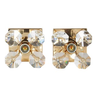Exquisite Cut Crystal and Gold Hollywood Regency Sconces by Christoph Palme For Sale