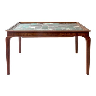 Frits Henningsen & Jens Thirslund, Rare Danish Mahogany & Tile-Top Coffee Table For Sale