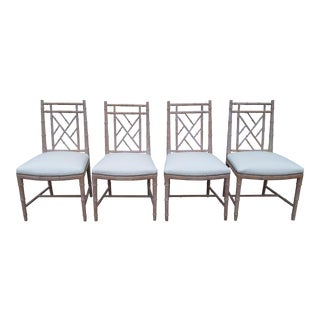 1970s Vintage Century Furniture Faux Bamboo Dining Chairs- Set of 4 For Sale