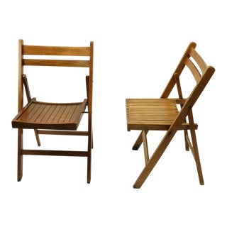 Vintage Mid Century Folding Chairs- A Pair For Sale