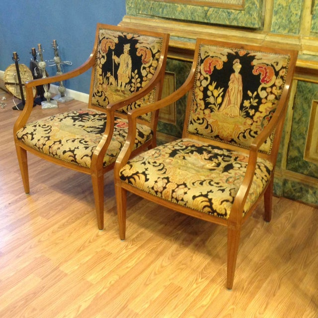 Pair of Italian Neoclassic Armchairs For Sale - Image 4 of 13