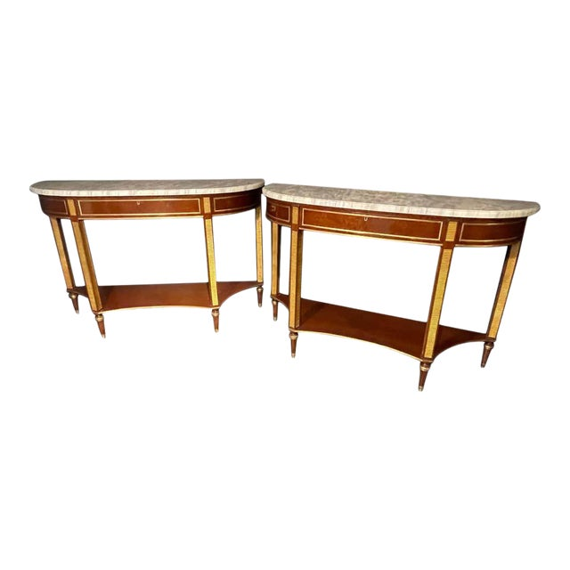 Pair of Russian Neoclassical Consoles / Sofa Tables or Sideboards, Demilune For Sale