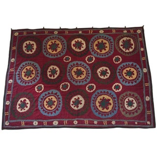 Large Vintage Uzbek Suzani Needlework Textile Blanket or Tapestry For Sale