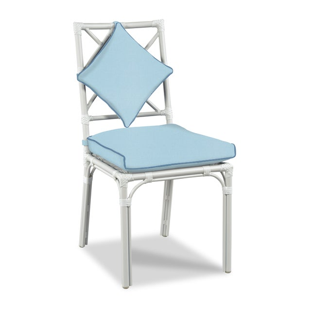 Traditional Haven Outdoor Dining Chairs, Canvas Mineral Blue with Canvas Sapphire Welt - Set of 6 For Sale - Image 3 of 5