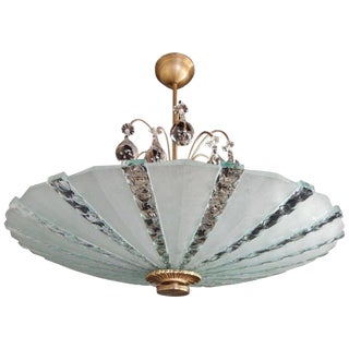 1950s Swedish Art Glass Hanging Fixture With Pear Crystal Canopy by Orrefors For Sale