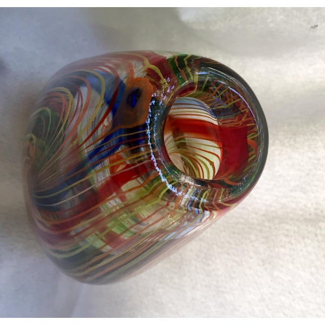 Large Mid-Century Murano Multi-Colored Swirl Teardrop Vase Attributed to Dino Martens - Image 5 of 9