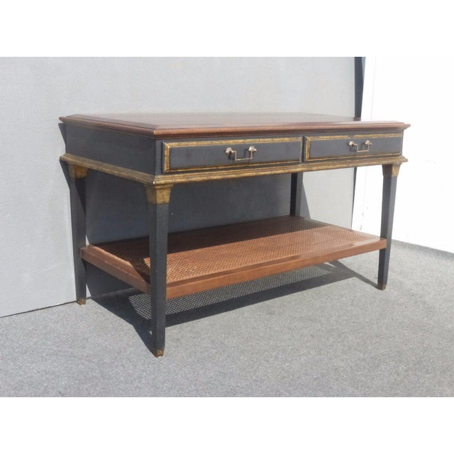 Gold Hollywood Regency Black & Gold Crackle Finish Library Console Table For Sale - Image 8 of 11