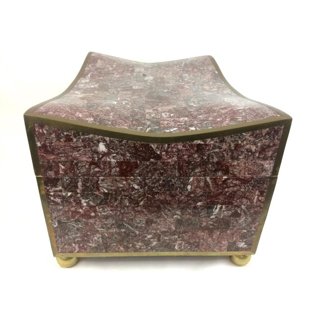 Maitland-Smith Tesselated Marble & Brass Box - Image 10 of 11